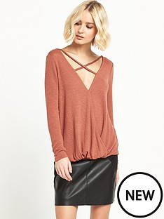 river-island-river-island-rust-strappy-wrap-front-jumper