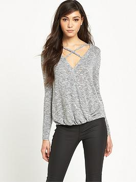 river-island-river-island-grey-strappy-wrap-front-jumper