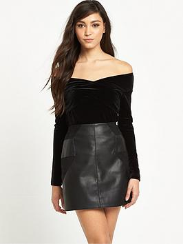 river-island-bardot-wrap-velvet-top