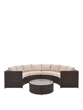 Genoa 5 Piece Half Moon Padded Sofa Set