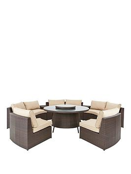 Genoa 8 Piece Rattan Dining Set With Circle Table
