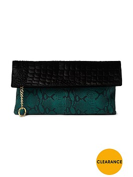 ri-studio-river-island-studio-ponyskin-foldover-leather-textured-clutch