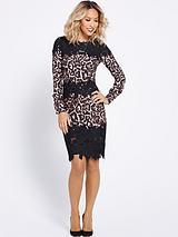 Leopard And Lace Pencil Dress