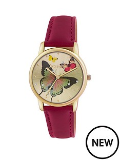 accessorize-accessorize-gold-tone-butterfly-dial-red-strap-ladies-watch