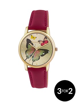accessorize-gold-tone-butterfly-dial-red-strap-ladies-watch