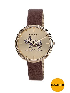 radley-radley-gold-tone-dog-dial-brown-leather-strap-ladies-watch