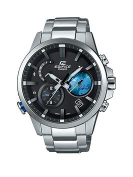 Casio Casio Edifice Black Moving Globe Dial Stainless Steel Bracelet Mens Watch
