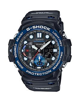 Casio Casio G Shock Black Multi Dial Blue Bezel Black Strap Mens Watch