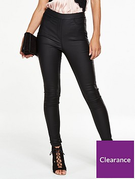84663d5626381d V by Very Tall Charley High Rise Side Zip Coated Jegging - Black ...