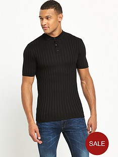 river-island-ribbed-muscle-fit-polo-top