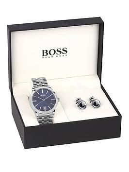 hugo-boss-black-blue-dial-stainless-steel-bracelet-mens-watch-amp-cuff-link-gift-set