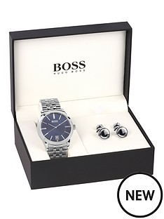 hugo-boss-black-hugo-boss-boss-black-blue-dial-stainless-steel-bracelet-mens-watch-amp-cuff-link-gift-set