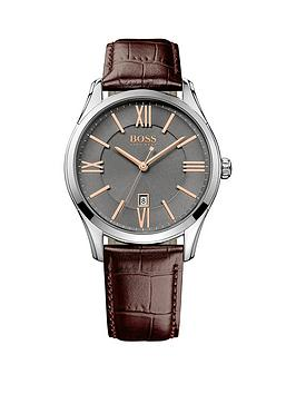 hugo-boss-black-hugo-boss-boss-black-ambassador-grey-dial-rose-tone-accents-brown-leather-strap-mens-watch
