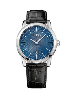 Hugo Boss Black Hugo Boss Boss Black Classi 1 Blue Dial Black Leather Strap Mens Watch