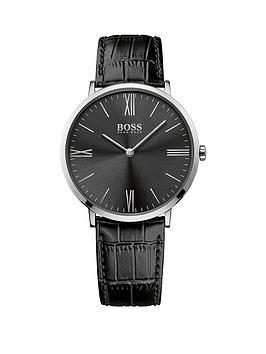 Hugo Boss Black Hugo Boss Boss Black Jackson Black Dial Black Leather Strap Mens Watch