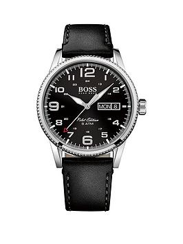 Hugo Boss Black Pilot Vintage Black Dial Black Leather Mens Watch