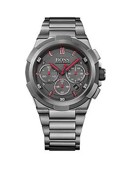 Hugo Boss Black Hugo Boss Boss Black Supernova Grey Dial Red Accents Steel Bracelet Mens Watch