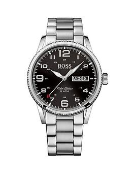 Hugo Boss Black Hugo Boss Boss Black Pilot Vintage Black Dial Stainless Steel Bracelet Mens Watch