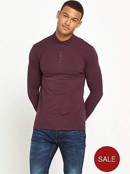 river-island-long-sleeve-muscle-fit-jersey-polo