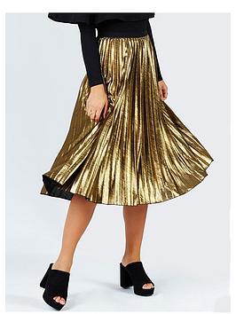 girls-on-film-metallic-pleat-midi-skirt-gold