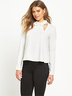 lost-ink-frill-neck-top-with-cut-out