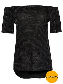 river-island-girls-black-sparkly-bardot-top