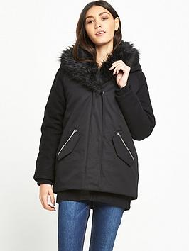lost-ink-shawl-faux-faux-fur-parka-black