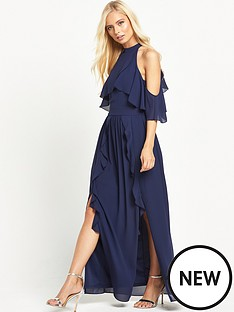 tfnc-tfnc-high-neck-frill-maxi-dress-with-split
