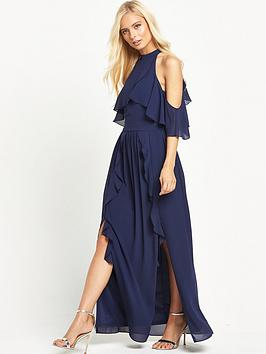 tfnc-tfnc-high-neck-frill-maxi-dress-with-split