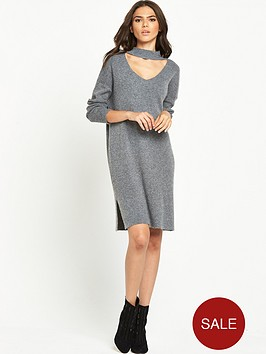 lost-ink-v-cut-out-relaxed-dress-grey