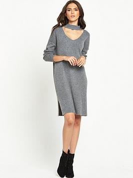 Lost Ink V Cut Out Relaxed Dress  Grey