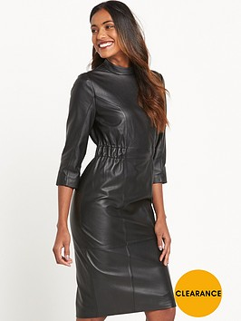 lost-ink-leather-dress-black