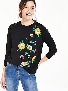 V By Very Floral Embroidered Jumper  Black