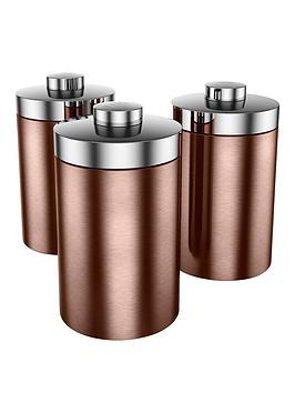 Swan Townhouse Set Of 3 Storage Canisters  Copper