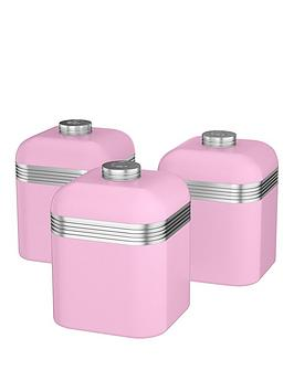 Swan Retro Set Of 3 Storage Canisters &Ndash Pink