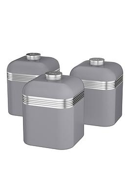 Swan Retro Set Of 3 Storage Canisters &Ndash Grey