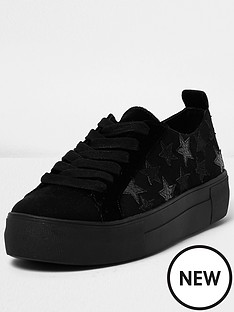 river-island-stars-lace-up-trainer-black
