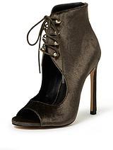 Tie Up Cut Out Shoe Boot - Khaki
