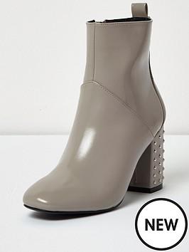 river-island-stud-heel-ankle-boot-grey