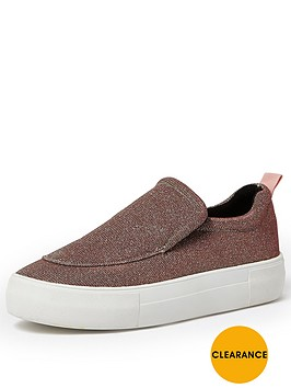 river-island-slip-on-double-sole-metallic-plimsoll