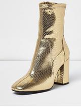 Sock Ankle Boot - Gold
