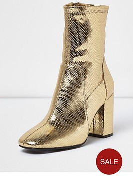 river-island-sock-ankle-boot-gold
