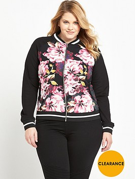 so-fabulous-curve-rib-trim-printed-bomber-jacket