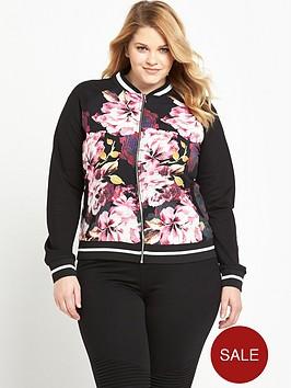 so-fabulous-curve-rib-trim-printed-bomber-jacket