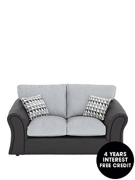 linear-fabric-and-faux-leather-2-seaternbspstandard-back-compact-sofa
