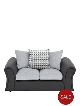 linear-fabric-and-faux-leather-2-seaternbspcompact-scatter-back-sofa