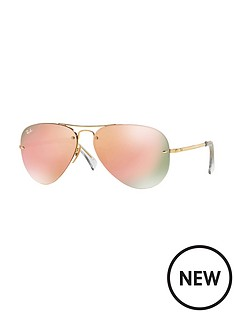 ray-ban-mirror-lense-rimless-aviator-sunglasses-3-of-pink