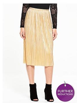 v-by-very-metallic-plissenbspmidi-skirt