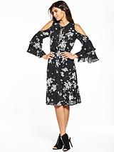Printed Cold Shoulder Midi Dress
