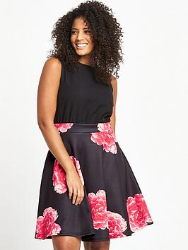 ax-paris-curve-curve-2-in-1-rose-print-midi-dress